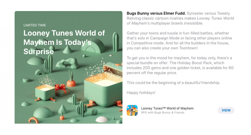 Apple offers a surprise in the App Store from the 24th to the 29th of December