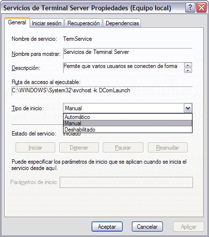 el servicio de terminal server: