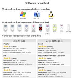 sección de Software para iPod