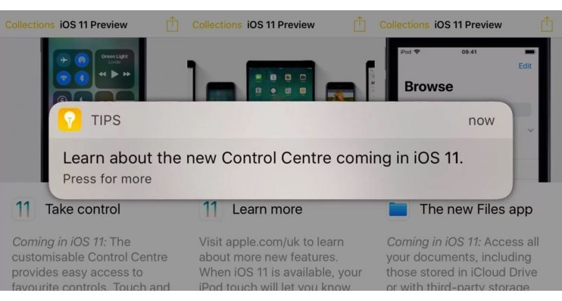 Apple promotes the functions of iOS 11 to iOS users 10