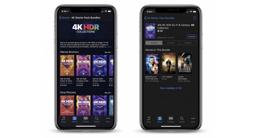 Apple launches the Sale of iTunes with packages of three 4K movies HDR for $ 19.99