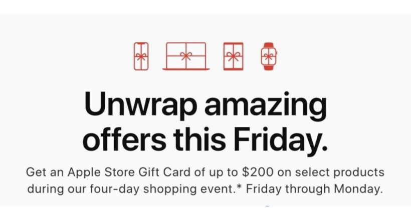 Apple offers gift cards with purchases from Black Friday to Cyber Monday