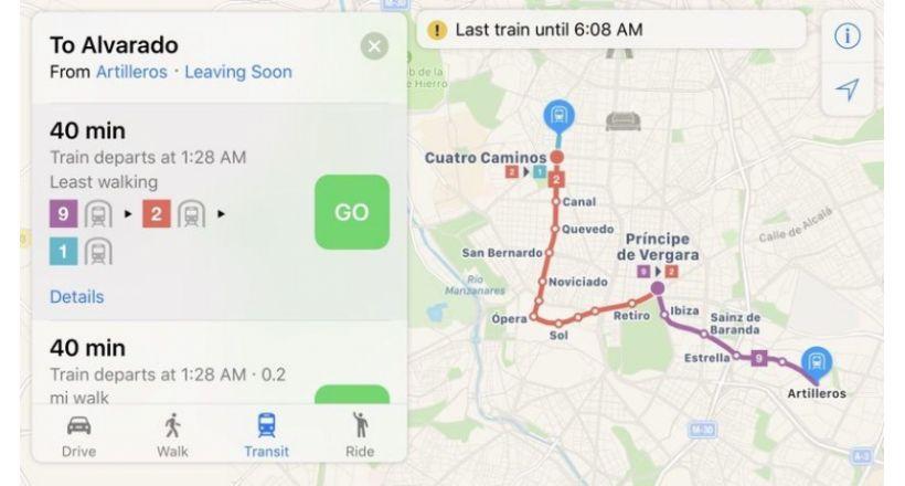 Os endereços de transporte público do Apple Maps se expandiram para a Europa