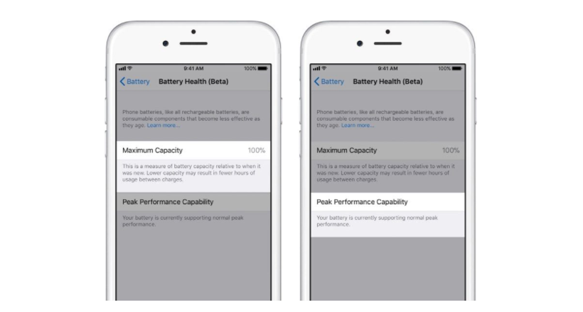 "iOS 11.3 Beta 2 includes the new function ""Battery Health"""