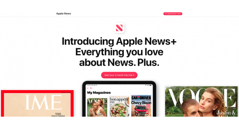 Apple offers a trial of three months free in the Apple News+ in the united States and Canada