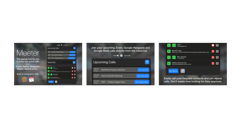 La nuova applicazione per Mac, Meeter permette di inserire facilmente le riunioni, Zoom, Google Hangout, e più