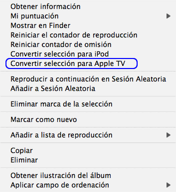 Convertir vídeos para Apple TV con iTunes